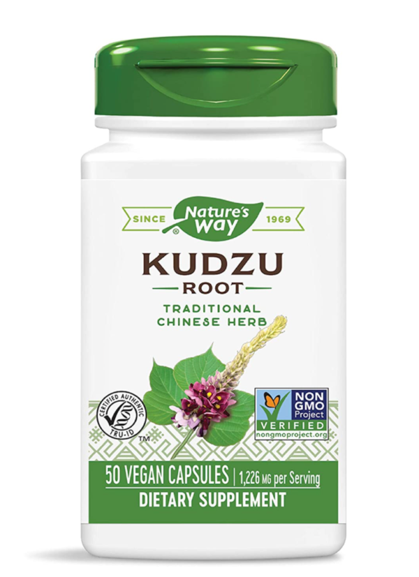 Kudzu Root Supplement - Nature's Way (white bottle with green cap, black writing, and green details)