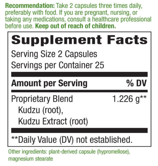 Supplement Facts section with green and black writing for Nature's Way Kudzu Root Supplement