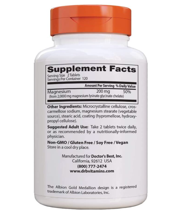 Doctor's Best High Absorption Magnesium Supplement Facts Section
