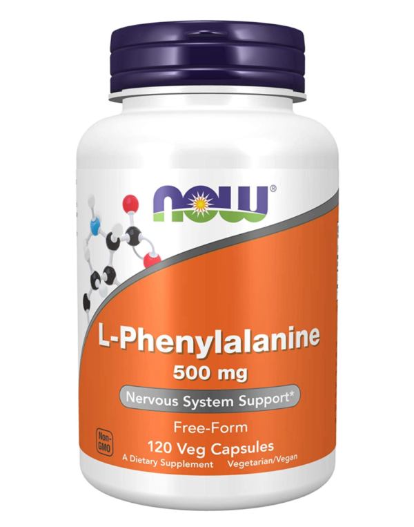 NOW L-Phenylalanine Supplement (orange and white supplement bottle with a dark blue cap)