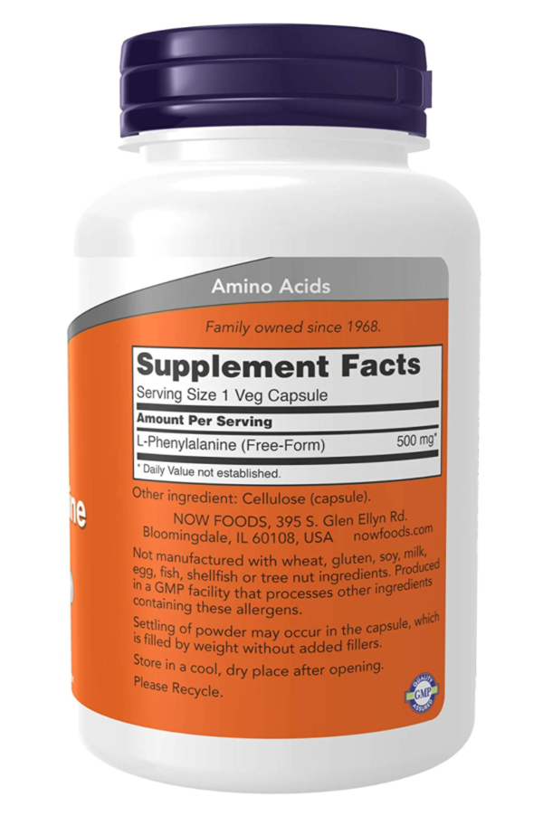 NOW L-Phenylalanine Supplement Facts(orange and white supplement bottle with a dark blue cap)