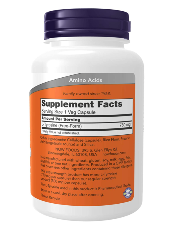 NOW Foods Tyrosine Supplement Facts (orange and white supplement bottle with a dark blue cap)