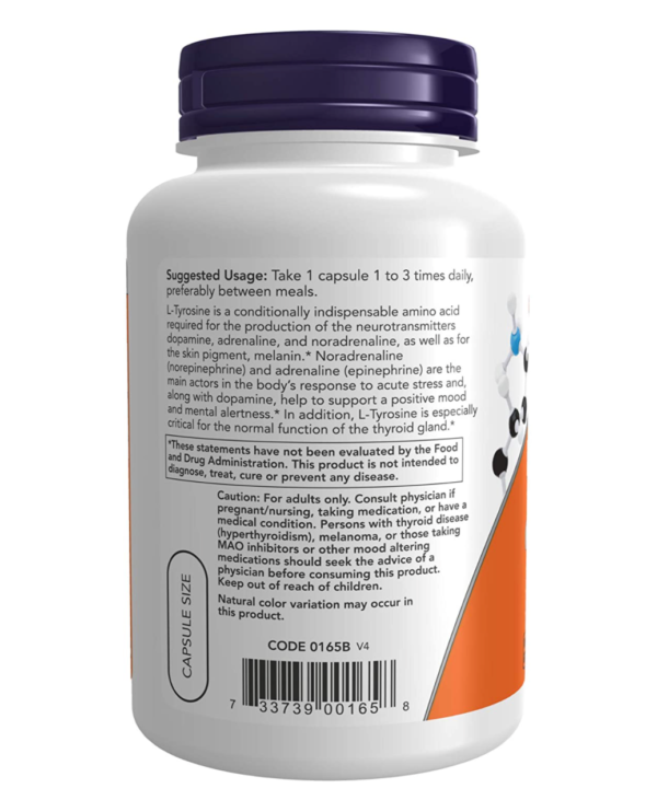 NOW Foods Tyrosine Supplement Information Section (orange and white supplement bottle with a dark blue cap)